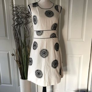 Boden Cream Black Embroidered Dress Size 8R